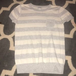 Grey and White Striped Sweater Shirt